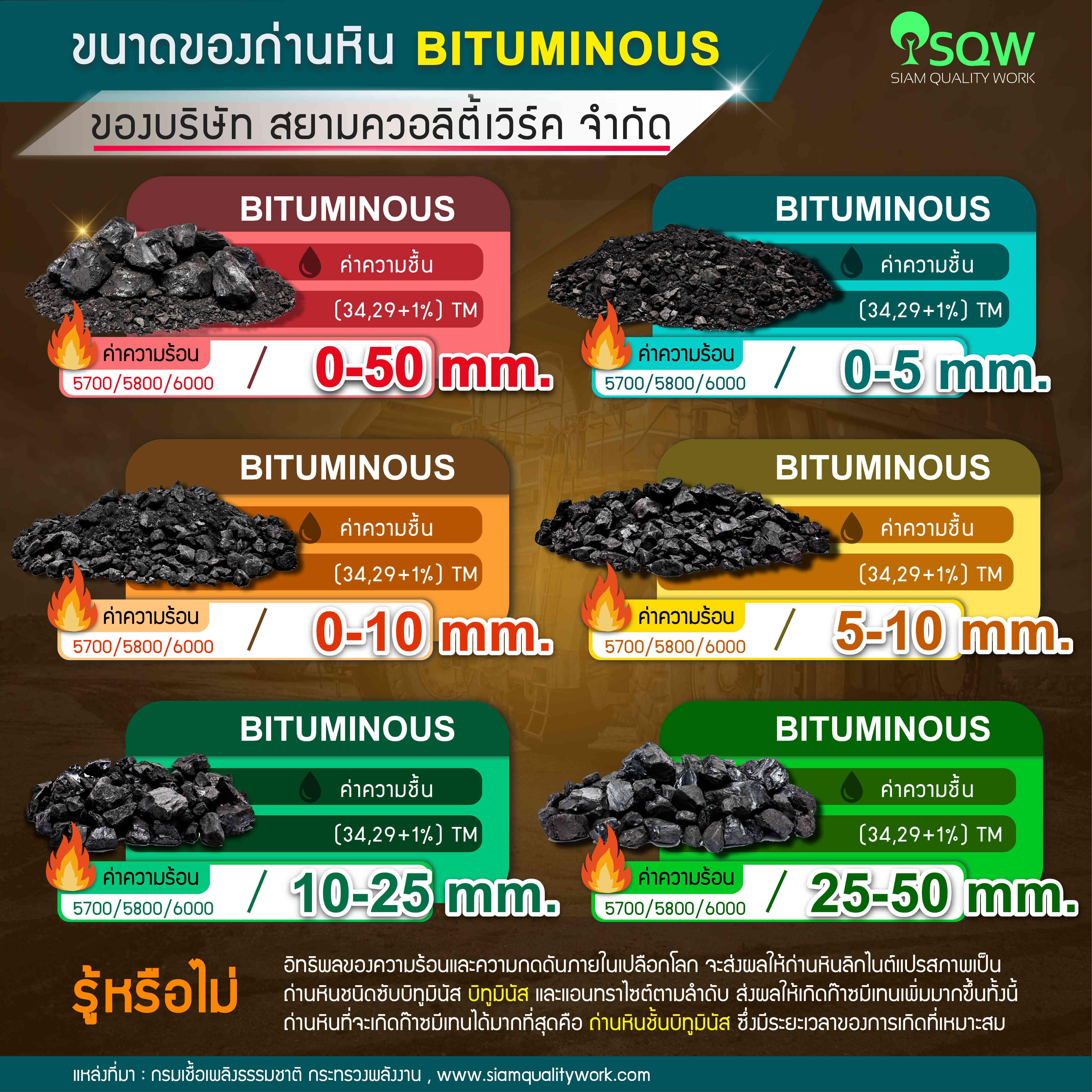 ขนาดของถ่านหิน Bituminous ของบริษัทฯ สยาม ควอลิตี้ เวิร์ค จำกัด